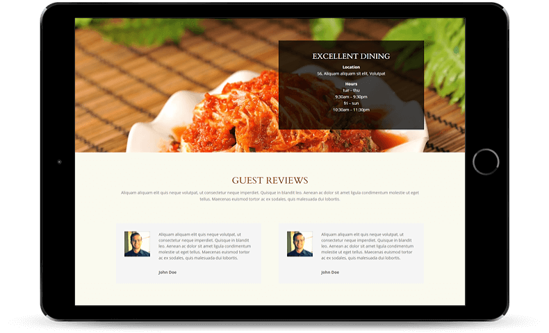 Display guest testimonials with Divi Restro child theme