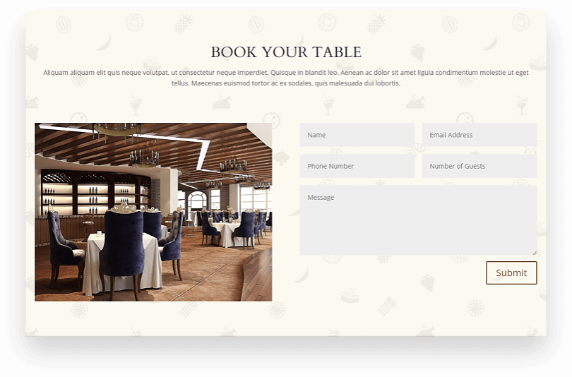 Restaurant child theme that provides you with the table booking form