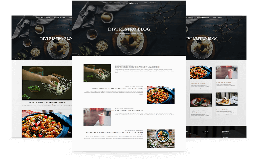 Multiple Divi 4 blog page templates included with Divi Restro child theme