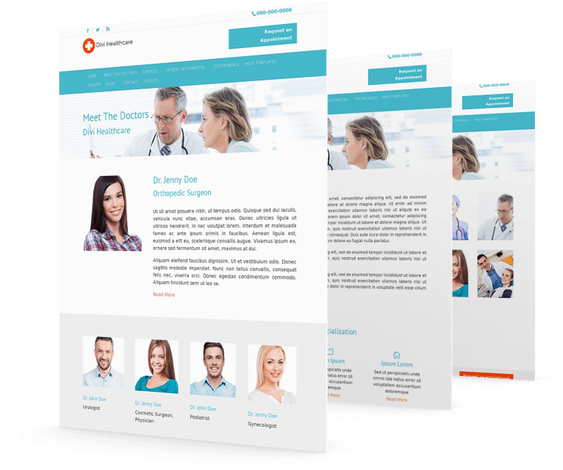With Divi Healthcare child theme you get all the necessary pages to create a medical website