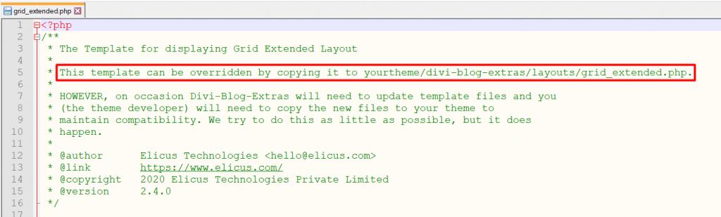 Divi blog extras layout override