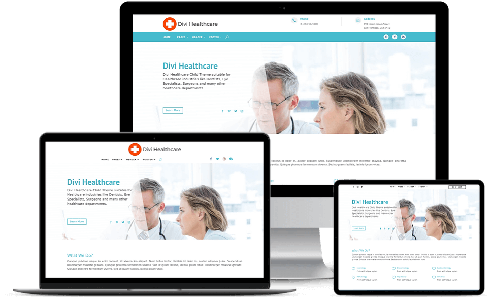 Divi Healthcare child theme comes multiple responsive header layouts created using Divi Theme Builder