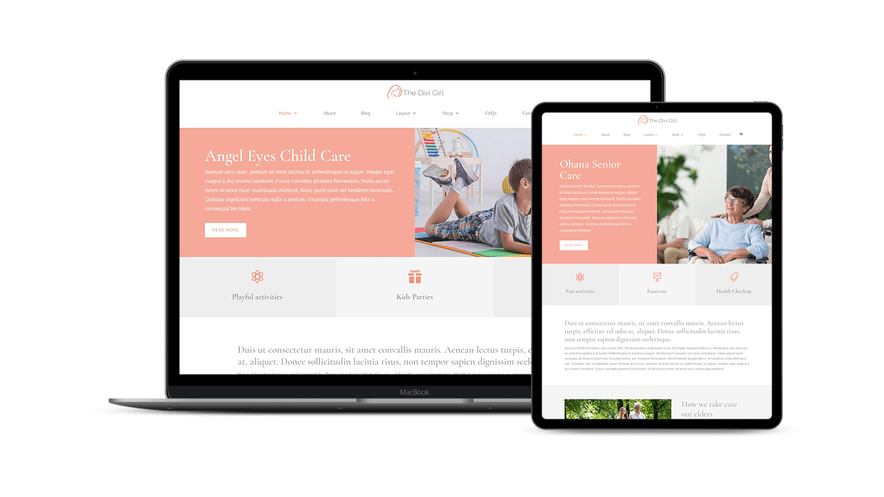 Provide services for children and seniors with this Divi feminine child theme