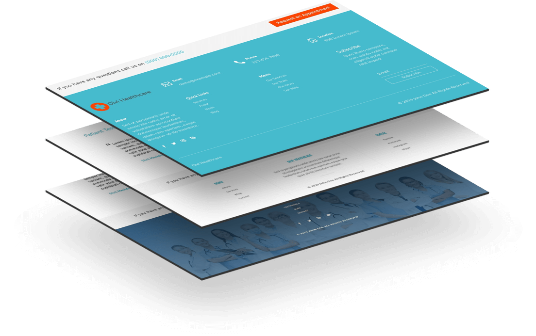 Multiple Divi 4 footer templates for an organized navigation at the bottom of the site
