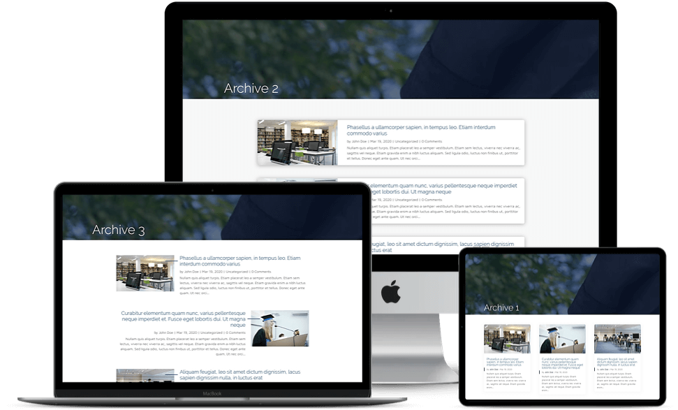 Blog layouts available with the Divi Edu child theme are responsive to all screen size devices