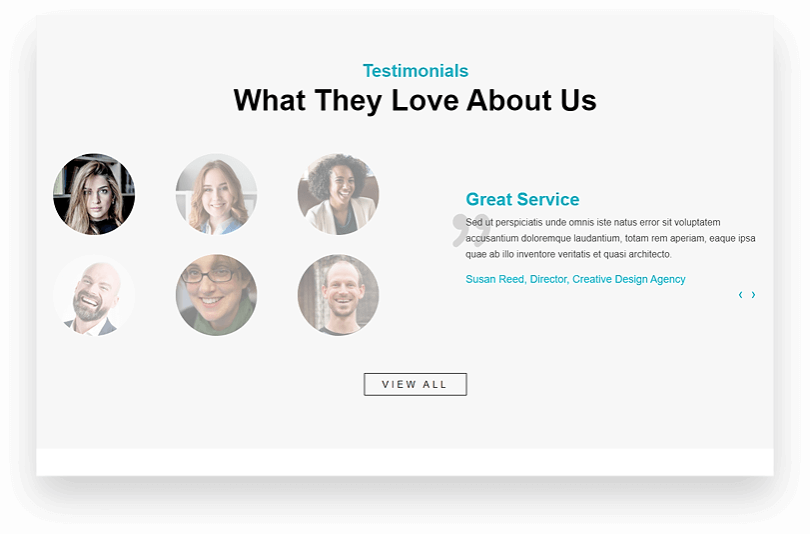 Homepage section for rotating testimonials