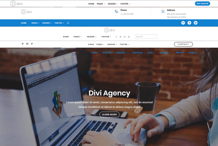 Header layouts come with Divi Agency child theme to change opening appearance of the site altogether