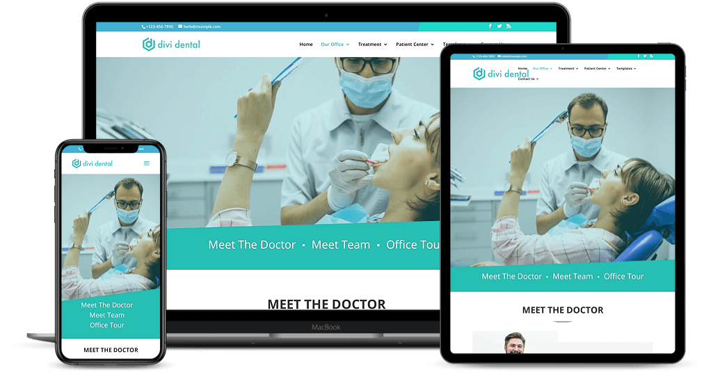 Divi Dental child theme is responsive to all screen resolution devices