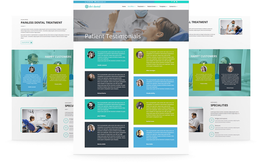 Divi Dental child theme has multiple testimonial section to display patients reviews