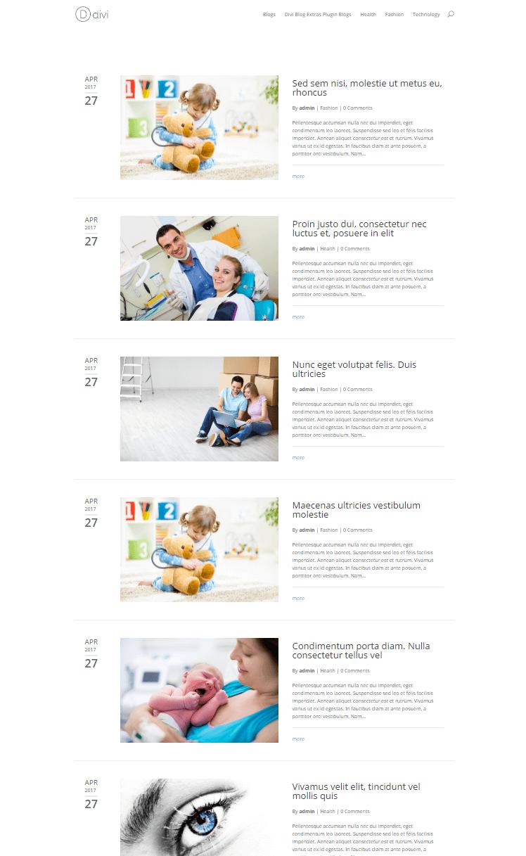 Divi fullwidth blog layout