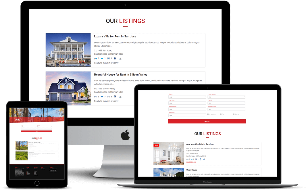 Divi RealEstate child theme comes with Easy Property Listing plugin to list properties of any type on the website