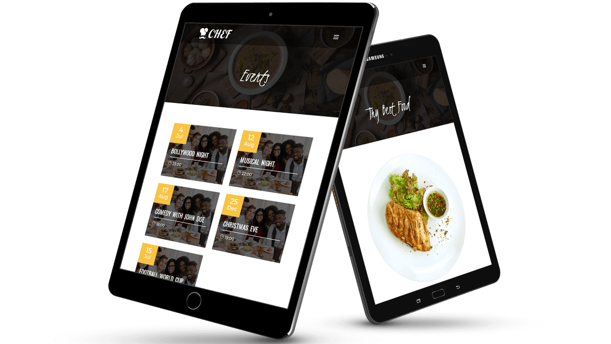 Divi Chef child theme comes with custom post type support for menus and events