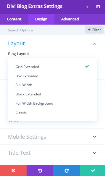 Layout design selection setting in visual builder