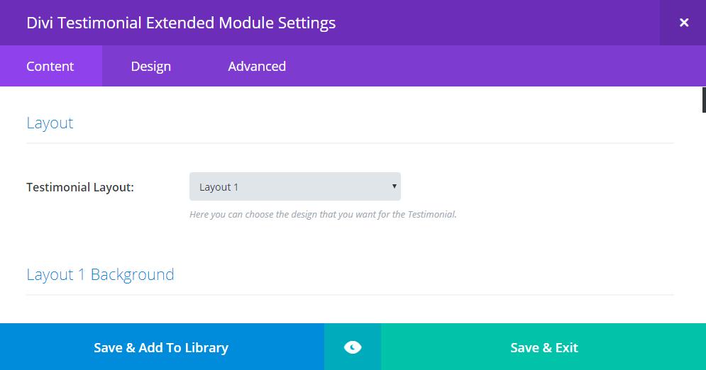 Divi testimonial extended module setting panel