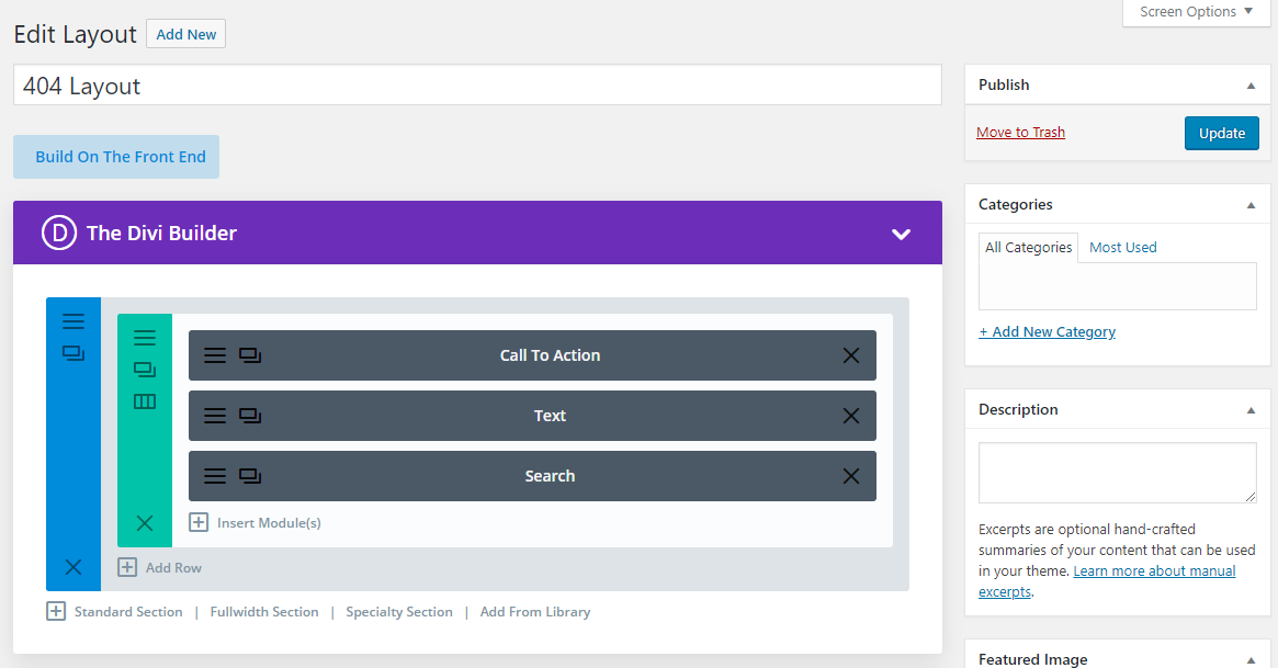 Divi 404 builder layout