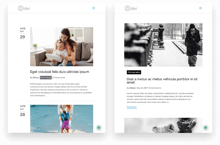 New divi blog layouts