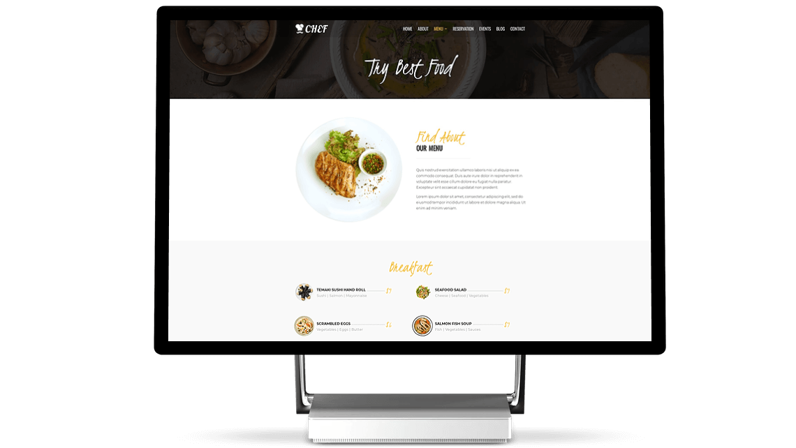 With Divi Chef child theme display menu items