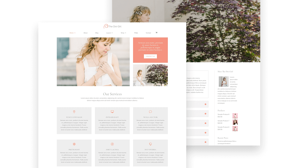 Divi Girl child theme with services layout