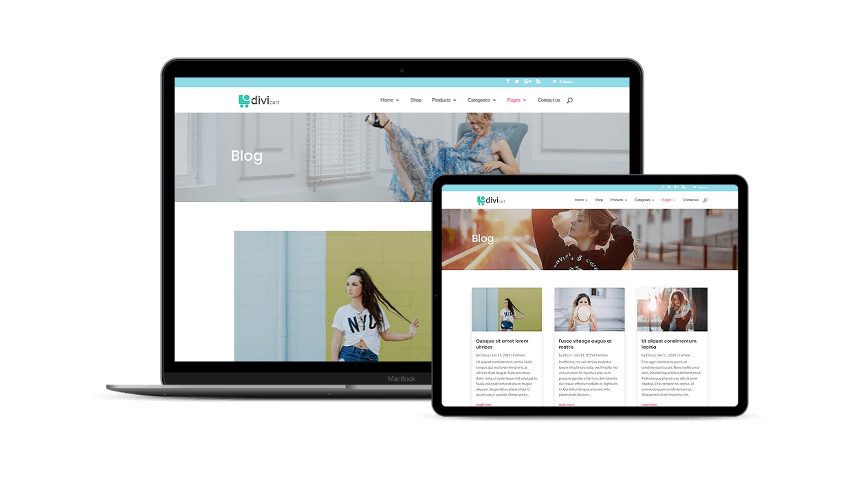 Multiple Divi blog page layouts