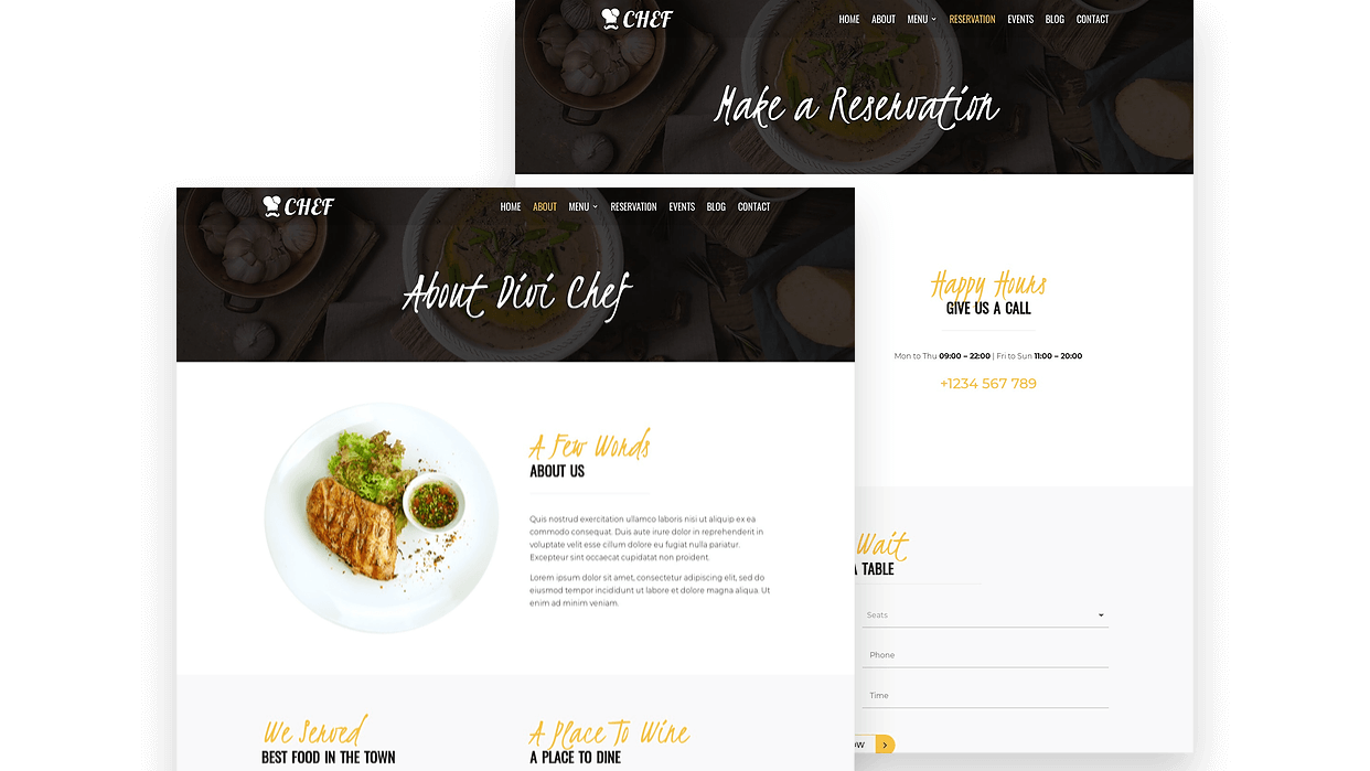 Multiple well designed restaurant page layouts