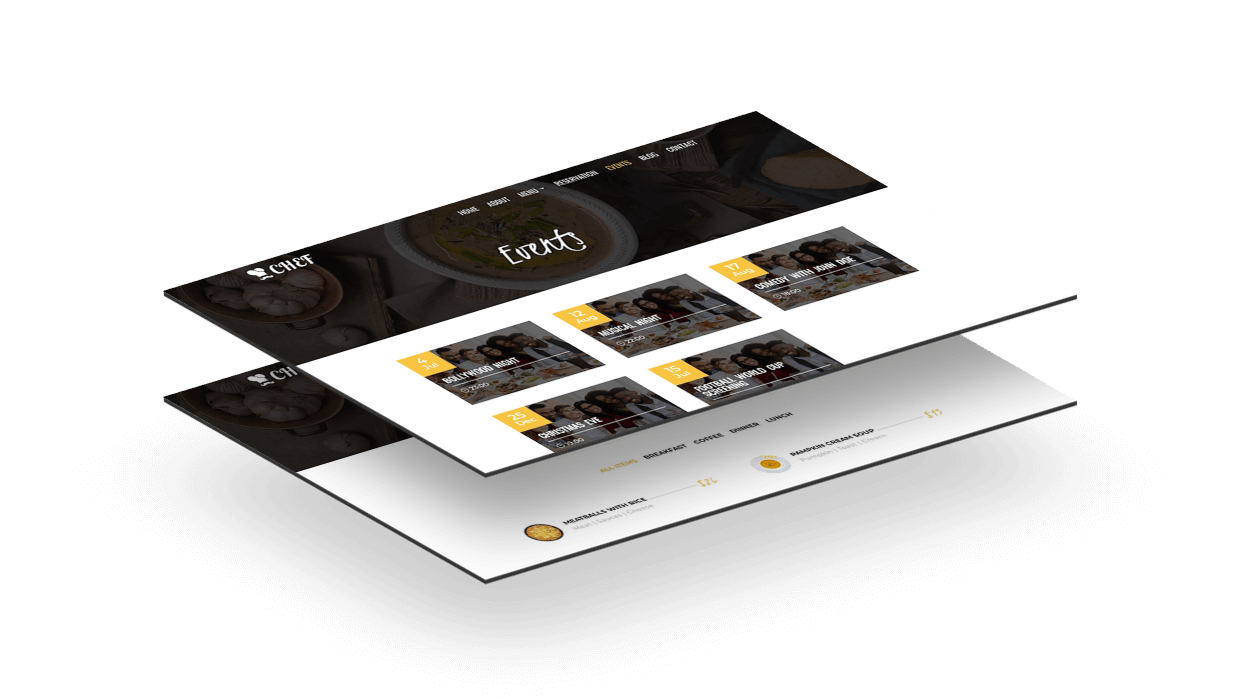 Display upcoming events on the site happening at your restaurant with Divi Chef child theme