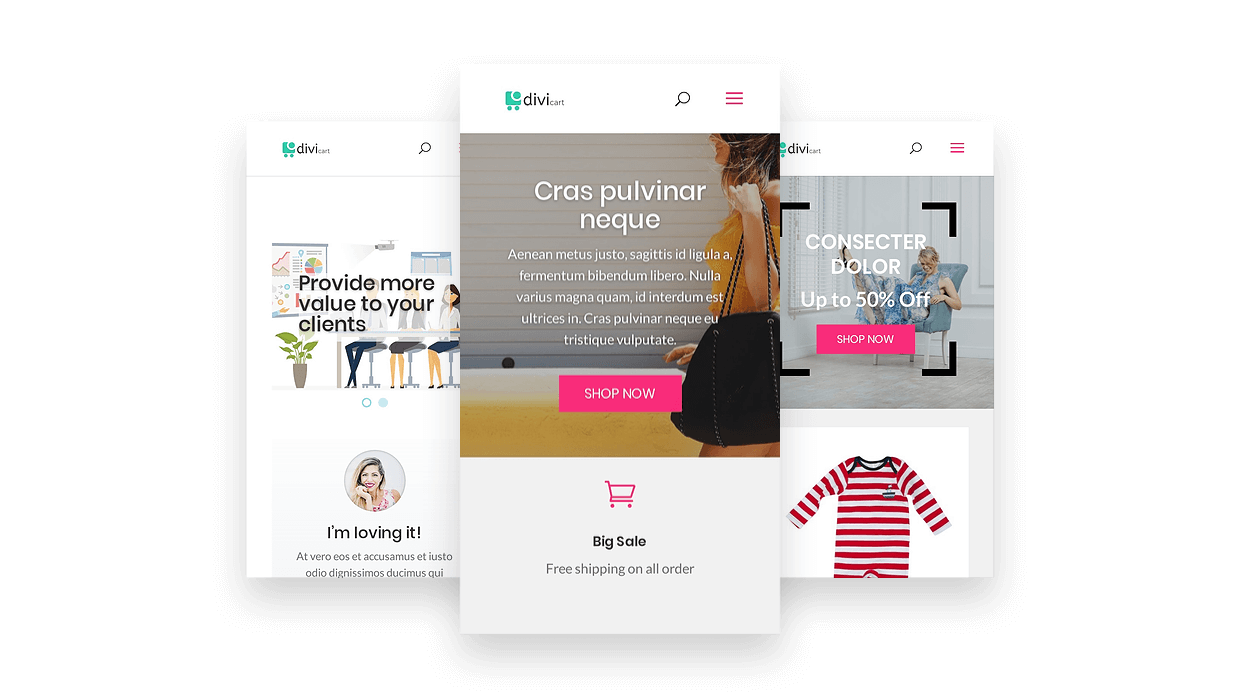 Get multiple eCommerce homepage layout with the Divi Cart child theme