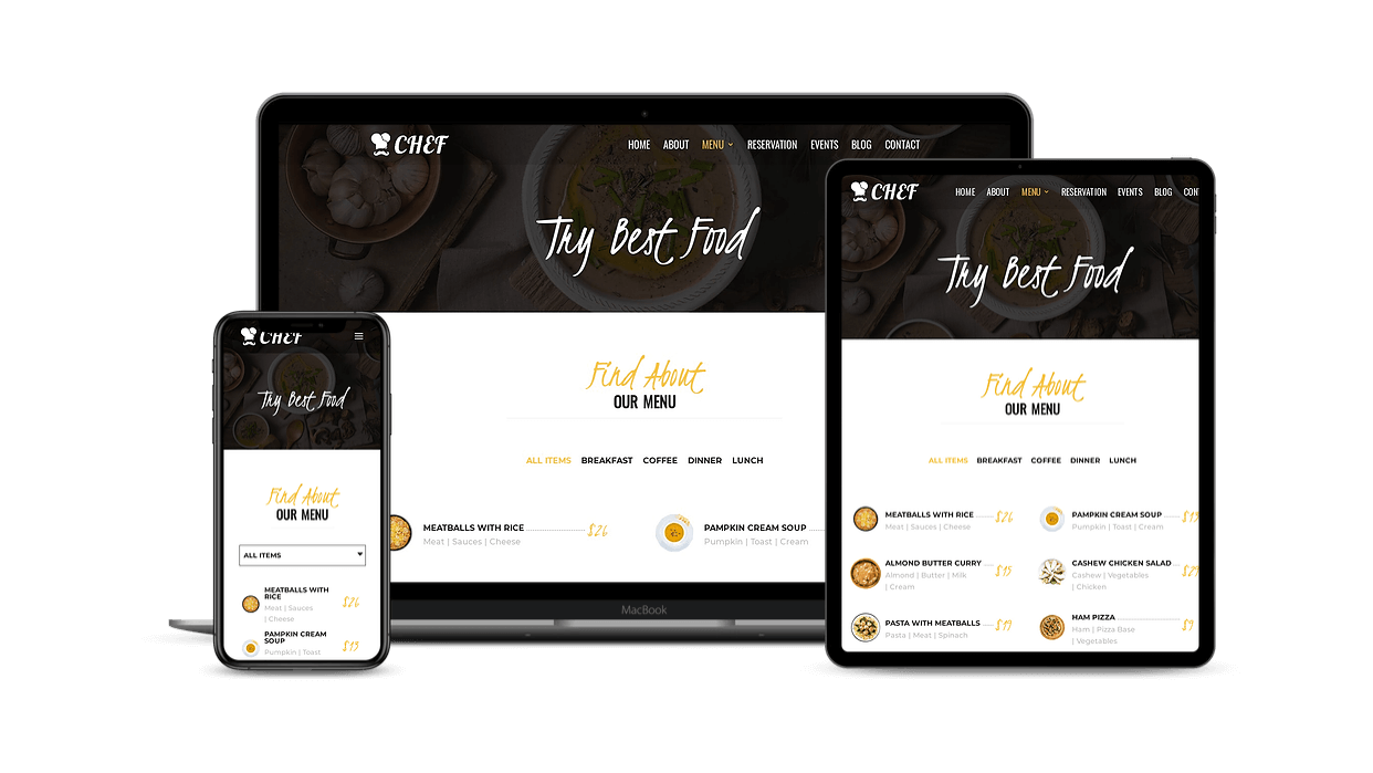 Divi restaurant child theme with filtrable menu items