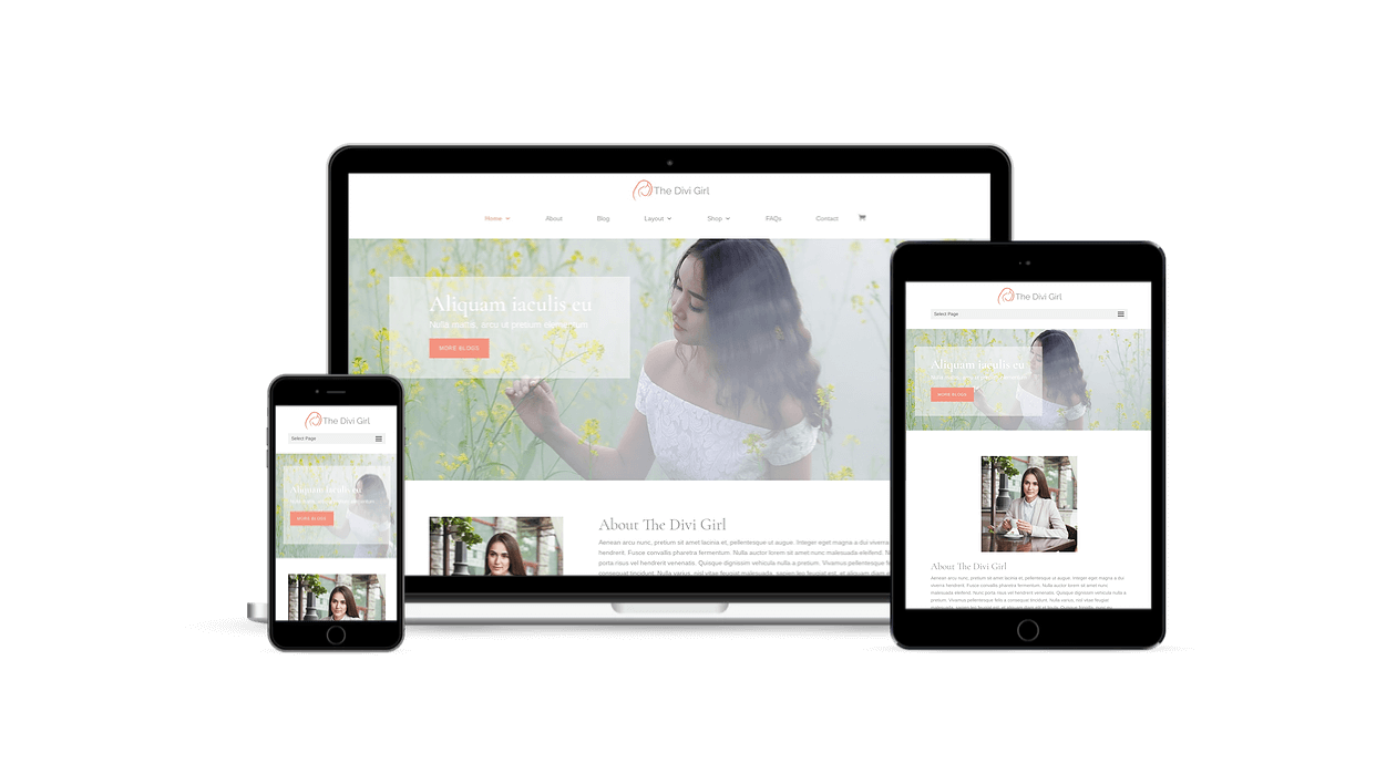Divi Girl is a responsive child theme with responsive layouts for all devices