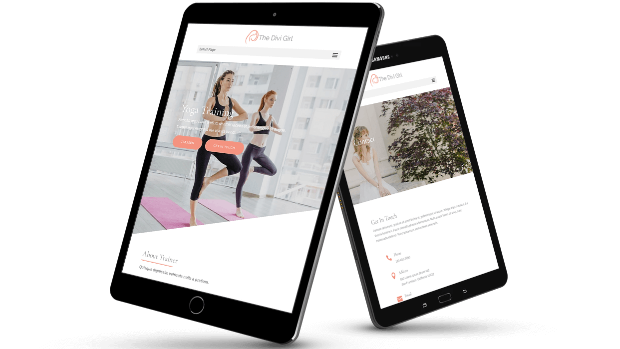 Yoga trainer layout with Divi Girl child theme for Divi