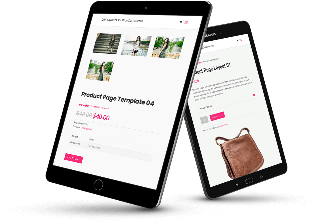 Divi WooCommerce layouts for different types of products