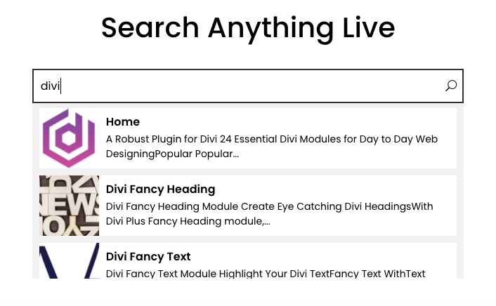 Ajax live search module for Divi theme
