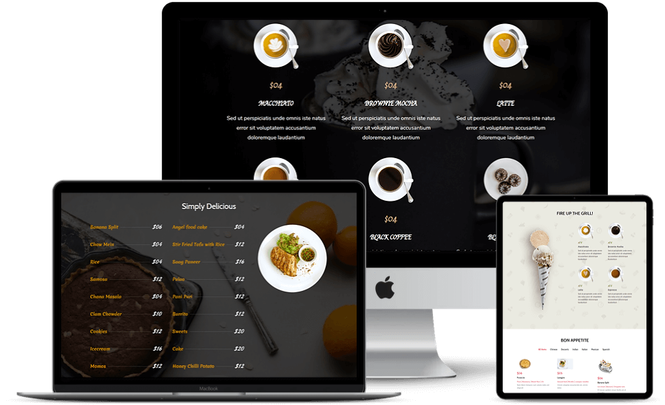 Multiple restaurant menu layout