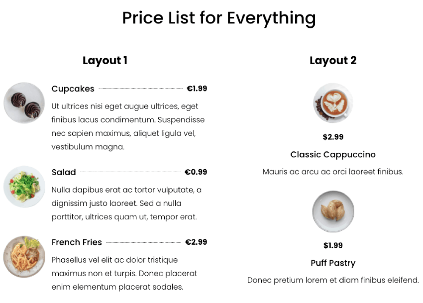 Price list module for Divi
