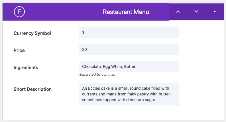 Extra detail fields for Divi restaurant menus of the Restro Menu plugin