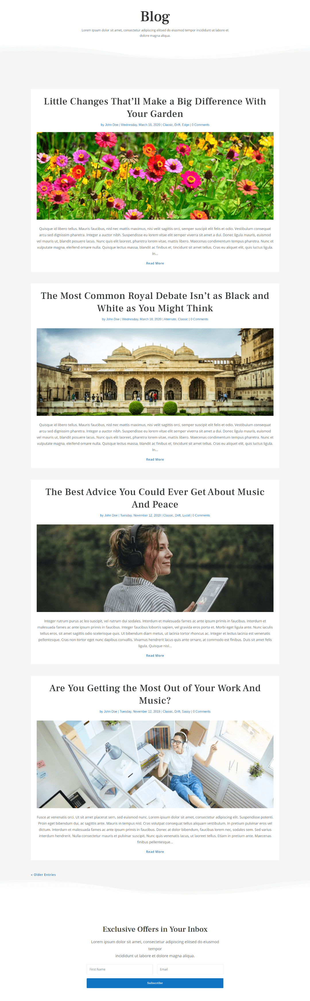 Classic Divi Blog Page Layout