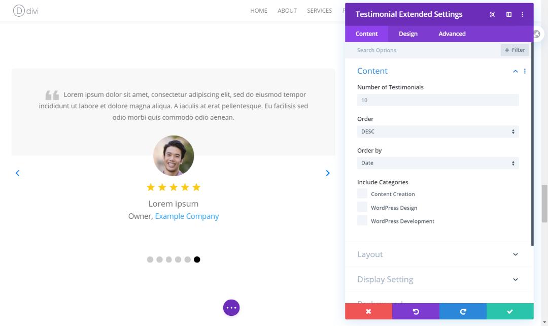 Content settings of the Divi testimonial slider plugin