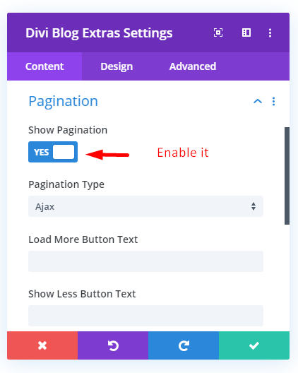 Divi Blog Extras Pagination Settings Ajax