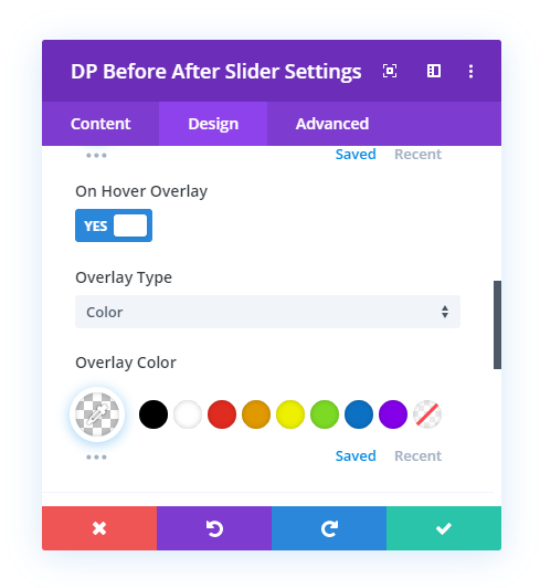 On Hover Overlay Settings
