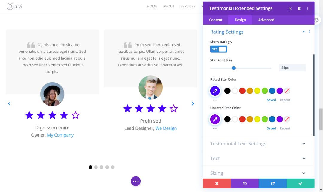 Divi testimonial slider ratings' settings