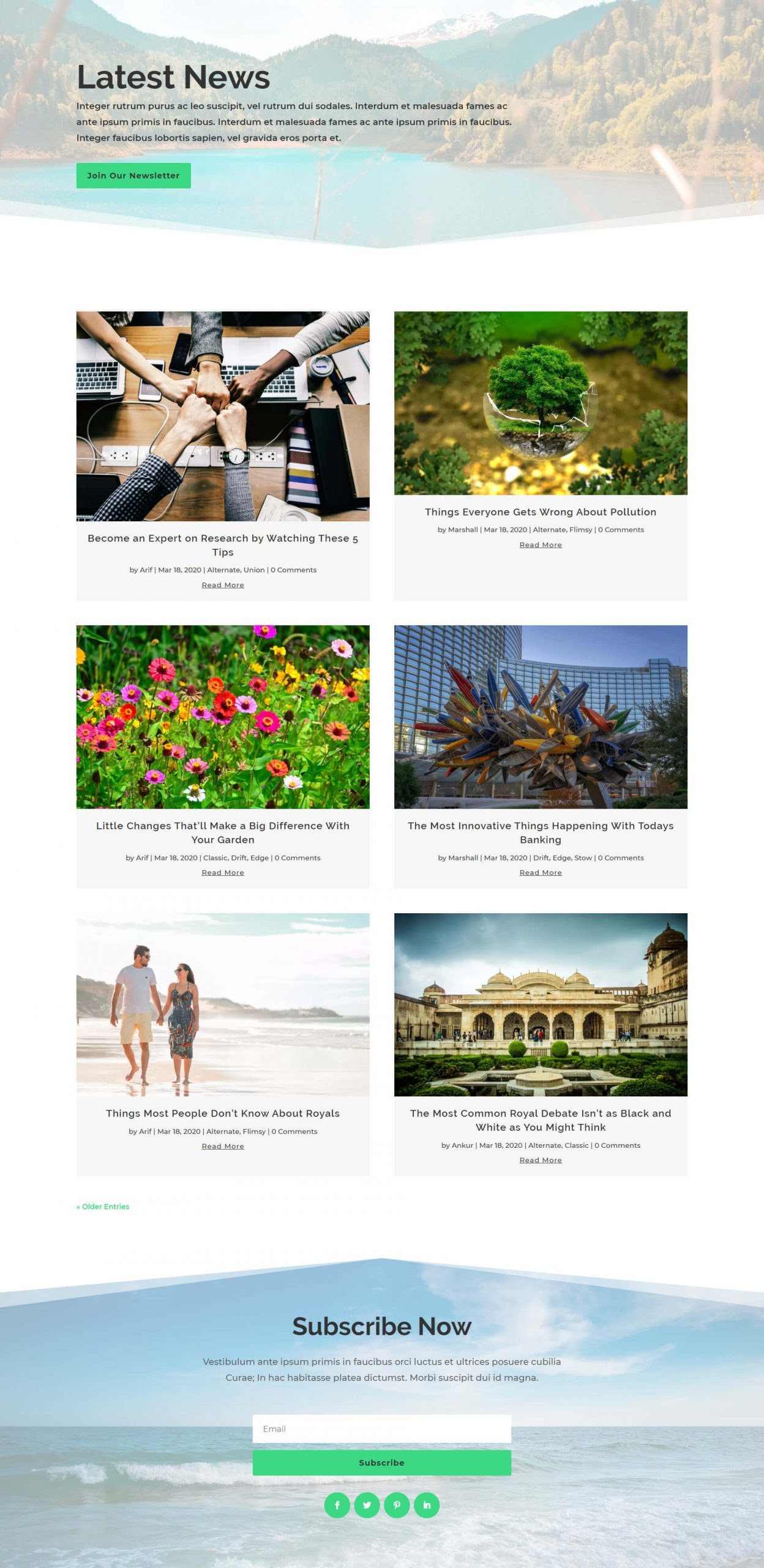 Stow Divi Blog Page Layout