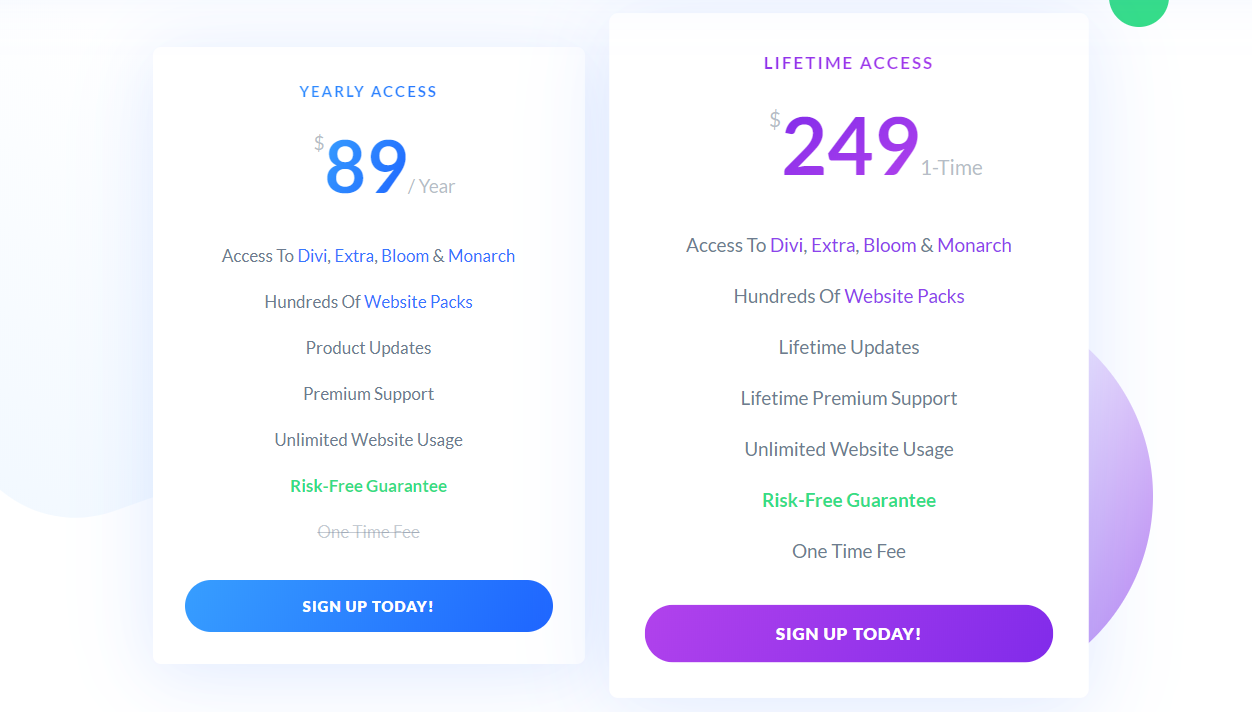 Divi Pricing vs Oxygen