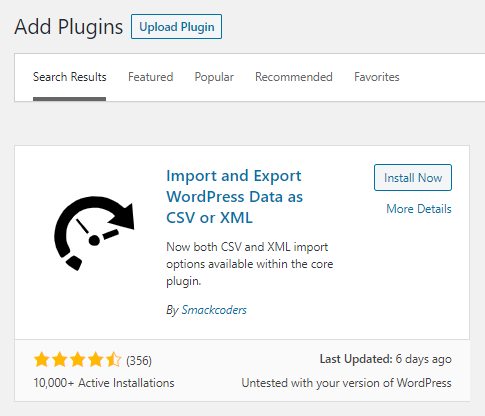 Import and Export WordPress Data as CSV or XML