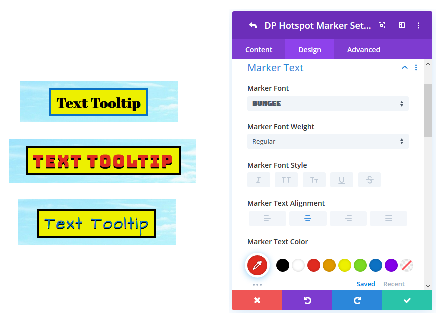 Image Hotspot Marker Text Styling for Divi