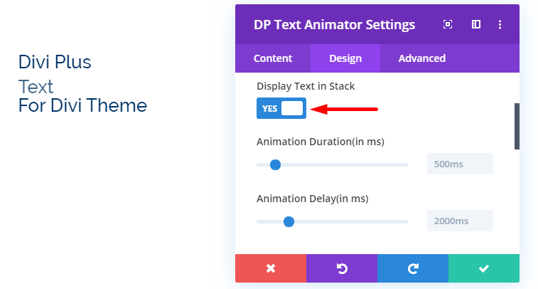 Divi Plus Stacked Text Animation
