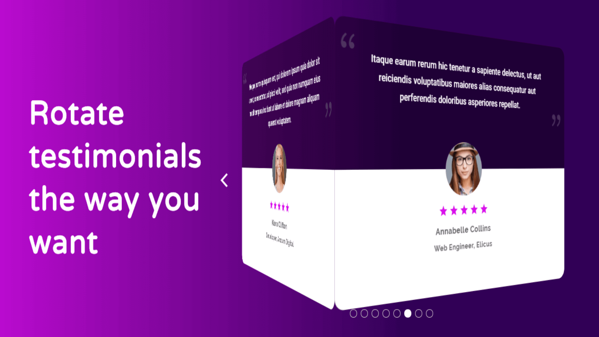 the design example for testimonial slider divi theme