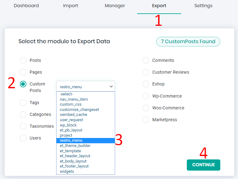 restaurant food menu items export in a CSV file