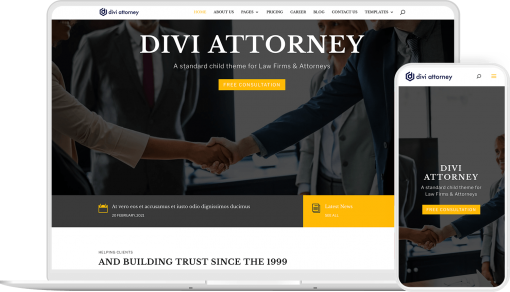 Divi Attorney is a ready to use child theme to create lawyers, law firm website with Divi