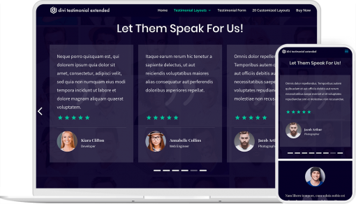 Testimonial plugin for Divi with front end testimonial submission form