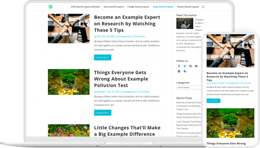 Search results page layouts pack for Divi 4