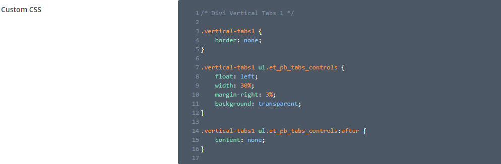 Vertical tabs theme options CSS
